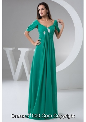 Exquisite Turquoise Floor-length Ruched Column Prom Dress