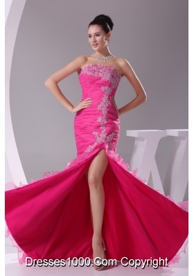 High Low Strapless Slit Prom Gowns with Ruffled Layers Brush Train