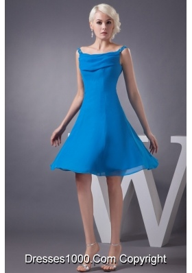 Off-the-Shoulder Mini-length Blue Chiffon Prom Gown Dress