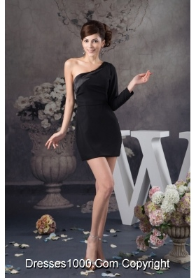 Asymmetrical Mini-length Black Prom Evening Dress with Side Zipper 133.66