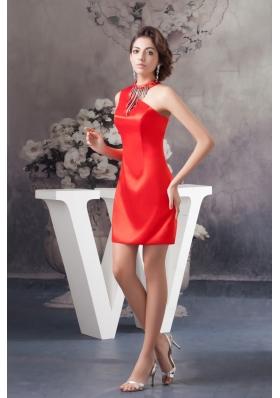 Asymmetrical Mini-length Red Column Satin Prom Celebrity Dress