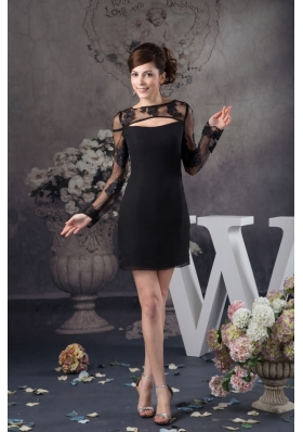 Black Chiffon and Lace Prom Evening Dress with Long Sleeves