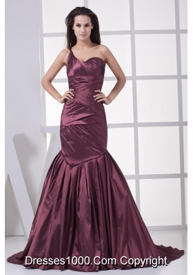 Burgundy One Shoulder Mermaid Ruched Brush Train Prom Graduation Dress