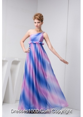One Shoulder Pleated Prom Graduation Dress in Ombre Colors