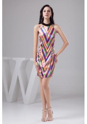 Glitz Halter Mini-length Prom Gown Dresses in Multi-Colored Print