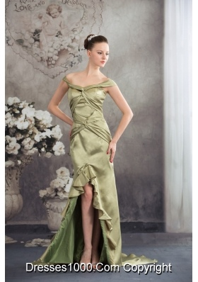 Off-the-shoulder Olivaceous High-low Flounced Prom Formal Dress