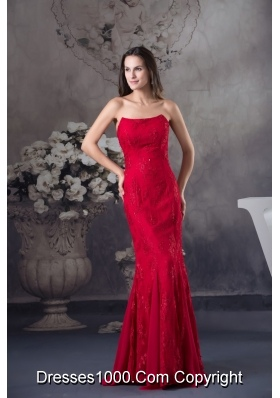 Strapless Beaded Lace Accent Floor-length Red Prom Formal Dress