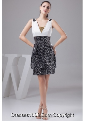 Elegant Black and White Beading Decorate Prom Gown Dress