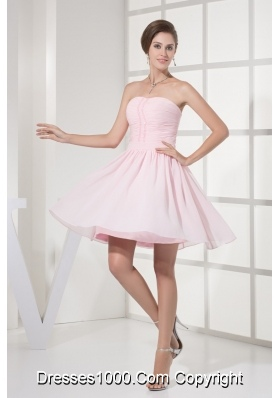 Ruched and Beaded Mini-length Chiffon Strapless Prom Homecoming Dress