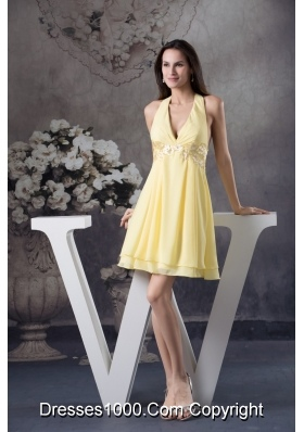 Beaded Appliques Accent Light Yellow Prom Cocktail Dress Halter