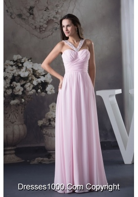 Beaded V-neck Ruched Pink Prom Holiday Dress with Side Zipper