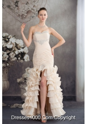 Champagne High Slit Prom Holiday Dress with Beading and Ruffled Layers