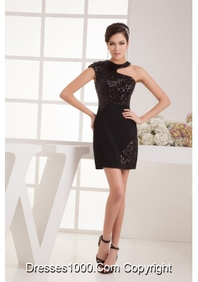 Sexy Black Mini Prom Dress with Asymmetrical Neckline Sequin Satin