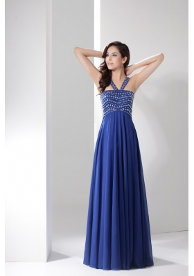 Blue Empire V-neck Prom Gowns Decorated with Shining Beadings