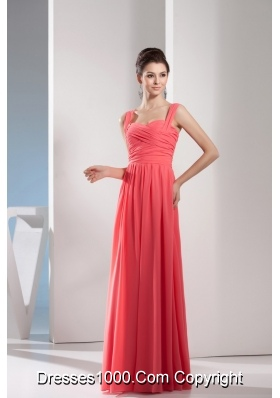 Elegant Watermelon Red Straps Floor-length Prom Gown with Ruching