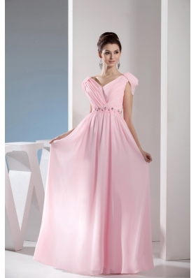 Empire Light Pink V-neck Beading and Ruching Long Prom Dresses