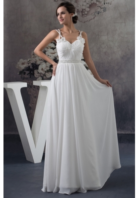 Floor-length Ruched Straps White Prom Dress with Handmade Flower