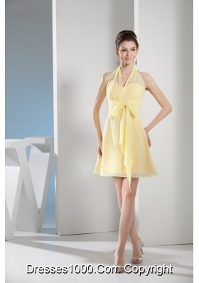 Halter Top Mini-length Light Yellow Prom Gown with Lovely Bowknot