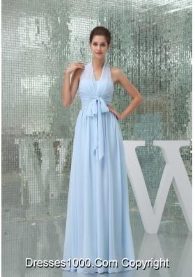 Light Blue Halter Ruches Sash Long Prom Gown Dress
