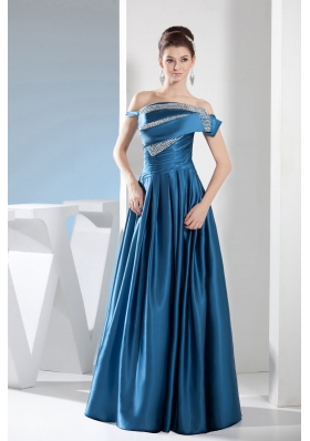 Off-the-shoulder Floor-length Prom Gown Dress Ruched Beaded