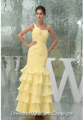 One Shoulder Ruffle-layers Ankle-length Prom Dress in Yellow