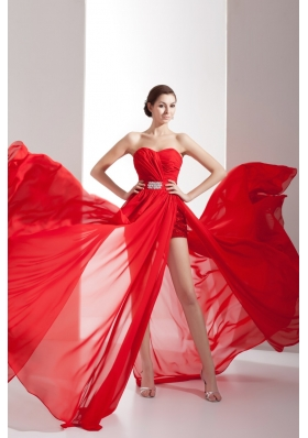 Popular Red Sweetheart Chiffon Prom Dress with Beading