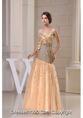 Sequin Tulle Sweetheart Gold Prom Dress with Ruche and Beading