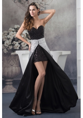 Sweetheart Sequin Watteau Train Black and White Prom Dress