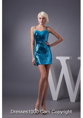 Blue Mini-length Prom Dresses with Paillette and Spaghetti Straps