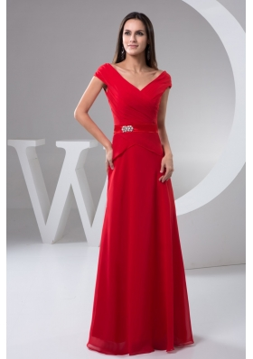Ruched Off-the-shoulder Red Floor-length Prom Holiday Dress