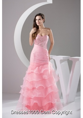 Sequins and Beading Decorated Bodice Prom Dresses with Ruffled Layers