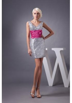 Silver V-neck Prom Graduation Dress with Ruche Hot Pink Belt