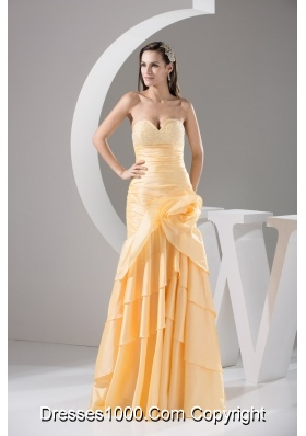 Sweetheart Ruching and Handle Flowers Layers Sheath Prom Dress