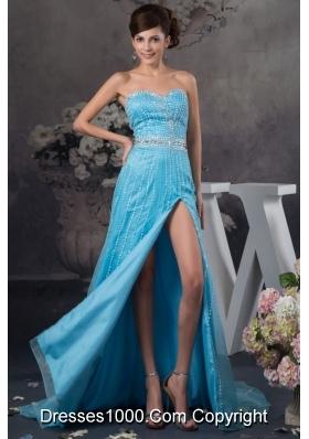 Popular Beaded Aqua Blue Brush Train Prom Dresses with High Slit
