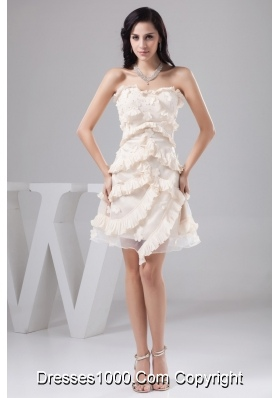 Sweetheart Cream Colored Prom Dress with Beading and Handmade Flower