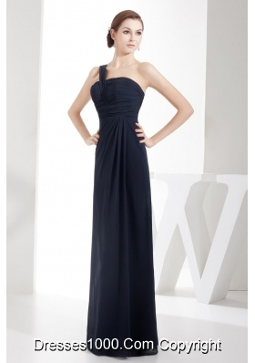 Column One Shoulder Navy Blue Chiffon Prom Gowns with Ruching