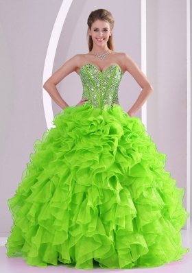 Beading Ball Gown Sweetheart Green Quinceanera Gowns for 2014 summer