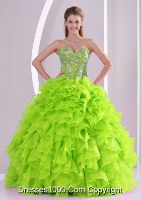 Best Seller Spring Green Sweetheart Ruffles and Beading 2014 Quinceanera Dresses