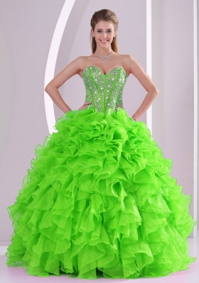 Discount Ball Gown Sweetheart Ruffles and Beaing Floor-length Quinceanera Gowns in Green