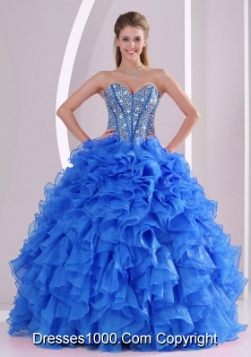 Exquisite Sweetheart Full -length 2014 Summer Quinceanera Gowns in Blue