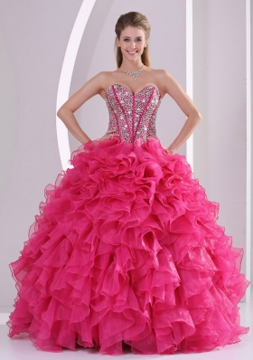 Hot Pink Ball Gown Sweetheart Ruffles and Beading Long Organza Quinceanera Gowns