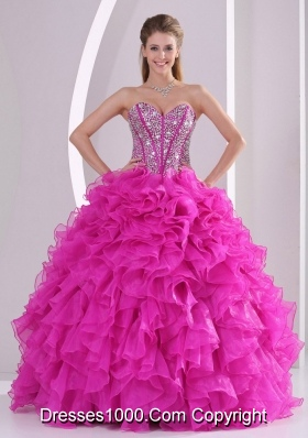 Pretty Sweetheart Ruffles and Beaded Decorate 2014 Hot Pink Quinceanera Gowns
