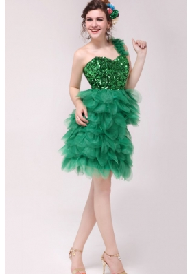 One Shoulder Sequin Ruffled Green Short Prom Pageant Dress