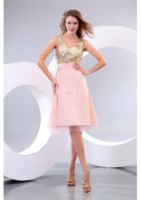 Sequin V-neck Full Length Gold and Pink Dress for Prom Party