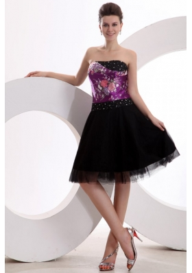 Floral Printed Beaded Strapless Black Tulle Dress for JS Prom