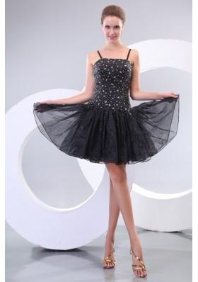Black Straps Beading Organza Mini Length A Line Prom Dress