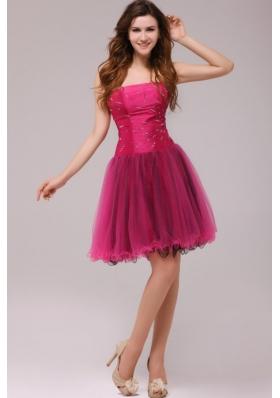 Organza Beads Strapless Fuchsia A-line Zipper Up Prom Dress