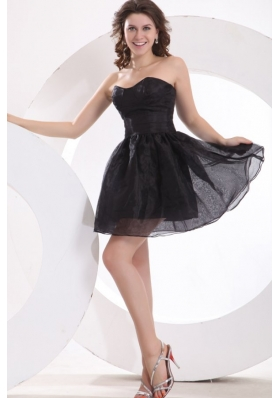 Classic Strapless Black Organza Short Dresses for Prom Court