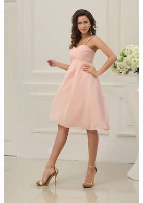 Spaghetti Straps Ruched Baby Pink Short Dress for Prom Court