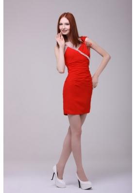 Asymmetrical Straps Beading Red Short Prom Nightclub Dress